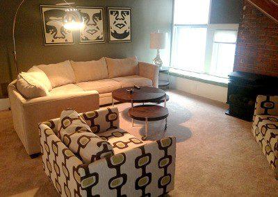 living room at Rutgers House loft